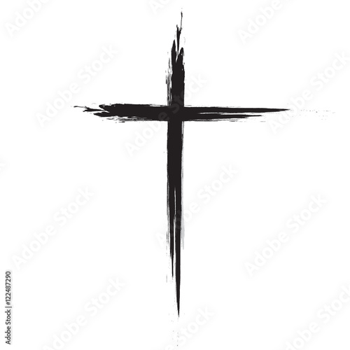 hand drawn black grunge cross icon simple christian cross sign