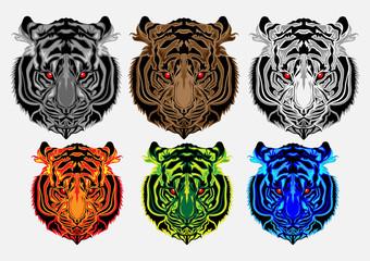 art head of a tiger