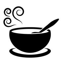 soup plate with spoon and steam hot  lunch black simple icon