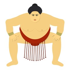 Sumo wrestler icon in cartoon style isolated on white background. Japan symbol stock vector illustration.