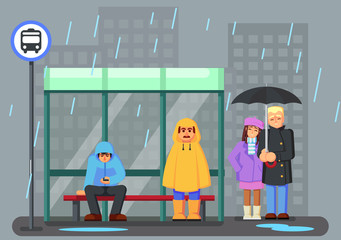 Cute Cartoon Characters with raincoat Umbrella Under the Rain and Waiting for the Bus.