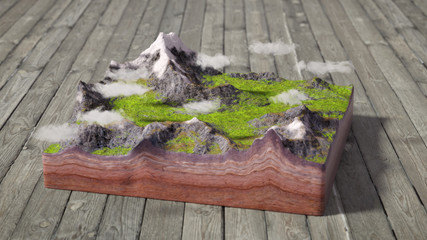 model of cross section of ground with mountains, meadows and clouds
