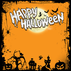 Postcard in honor of Halloween. Scary background. Pumpkin. Happy Halloween.