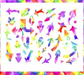 Colorful watercolor arrows set