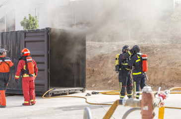 Practices in a flashover container