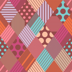 Rhombuses seamless vector pattern. Boho texture