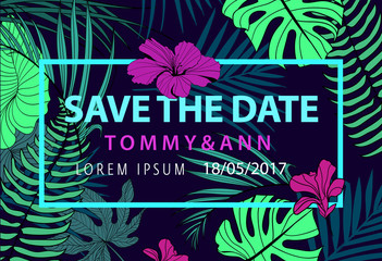 Vector save the date tropical wedding invitation poster, card.
