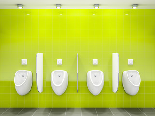 a green public restroom with four urinals