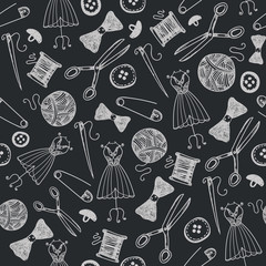 Vector hand drawn sewing seamless background, doodle handmade