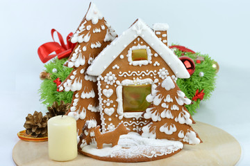 Christmas still life, home gingerbread on a gray background