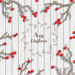 Christmas background in rustic style, dry branches with red berries on white wooden desk, illustration