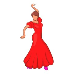 Flamenco dancer icon in cartoon style isolated on white background vector illustration