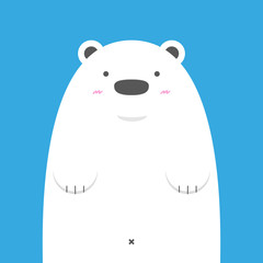 cute big white polar bear on blue background