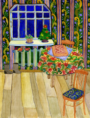 New Year greeting card. Watercolor hand drawn Christmas eve indoor illustration. Festive table with pie. Mittens and felt boots.