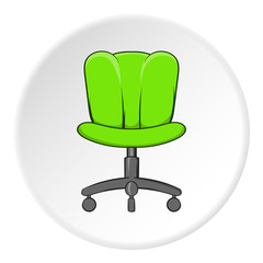 Office chair icon in cartoon style isolated on white circle background. Furniture symbol vector illustration