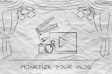 vlog or video icons on stage under spotlights