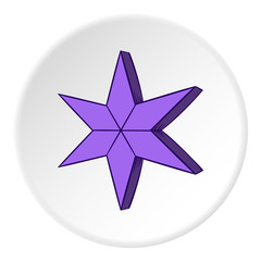 Heavenly six pointed star icon in cartoon style on white circle background. Figure symbol vector illustration