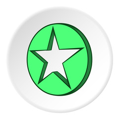 Star in circle icon in cartoon style on white circle background. Figure symbol vector illustration
