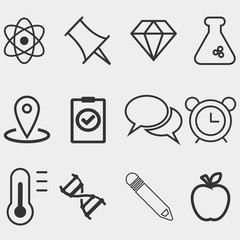 Science linear icons on a white background vector illustration