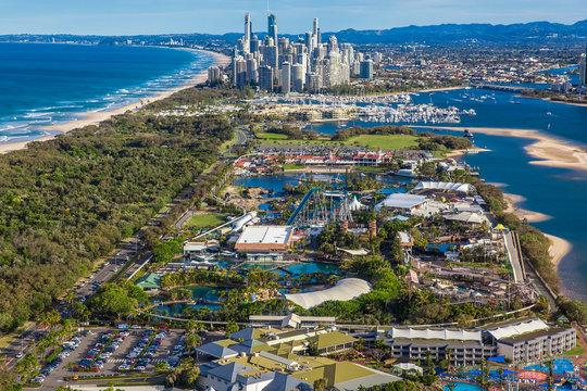 SURFERS PARADISE, AUS - SEPT 04 2016 Seaworld theme park with sk