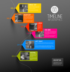 Vector colorful vertical timeline infographic