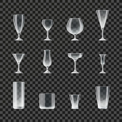 Glasses and goblets transparent vector icons