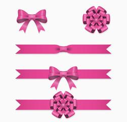 Wall Mural - Pink ribbon and bow vector set for gift box