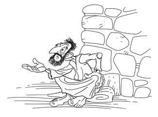 A beggar asks for alms