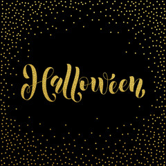 Halloween gold glitter spooky lettering greeting