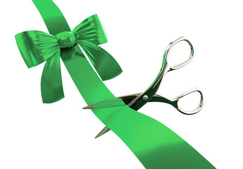 Green ribbon with scissors