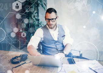 Concept Global Connection Virtual Icon Diagram Graph Interface Startup Reserch.Bearded Businessman Making Great Business Decisions.Creative Man Looking Papers Hands Table Workplace.Horizontal Blurred.