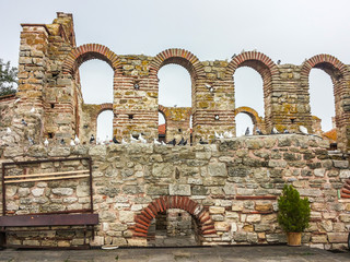 Ruined church of St Sofia in Old Town Nesebar will pigeons on its wall. Bulgaria