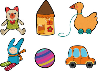 Cartoon children's toys set, dolls, house, duck, ball, car. Vector illustration.