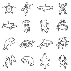 Aquatic animals icons set, line style. Animals living in the seas, oceans and fresh water isolated symbols collection