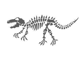 dinosaur skeleton vector illustration. The fossil of the dinosaur, on a white background