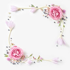 Fresh pink roses frame border isolated
