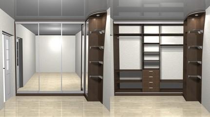 wardrobe corner with mirrored sliding doors 3D rendering illustration, inner filling