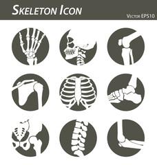 Skeleton icon (hand, finger , wrist , head , neck , thigh , knee , leg , shoulder , arm , forearm , thorax , ankle , foot , pelvis , hip , backbone ( vertebrae ) , elbow) black and white , flat design