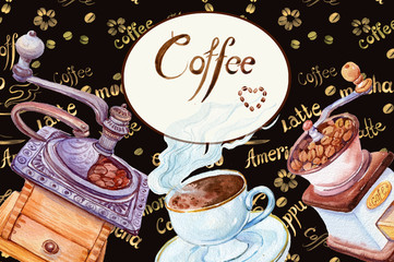 watercolor background .coffee shop,coffee grinders and coffee Cup. illustration watercolor