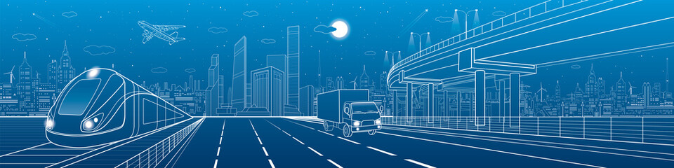Automotive flyover, infrastructure and transportation panorama, truck rides, plane flies, train move on the railway, business center, night city, towers and skyscrapers, urban scene, vector design art