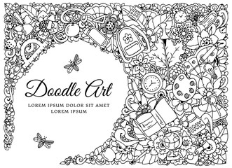 Vector illustration zentangl, frame with school supplies. Back to school. Doodle drawing. Meditative exercise. Coloring book anti stress for adults. Black and white.