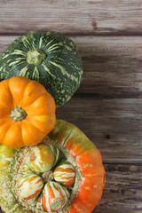 Pumpkins on a rustic background