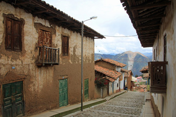Typical houses in the peruvian mountains in the village of Pallasca in northern Peru, near Tablachaca Canyon and Pato Canyon, north of Cordillera Blanca.