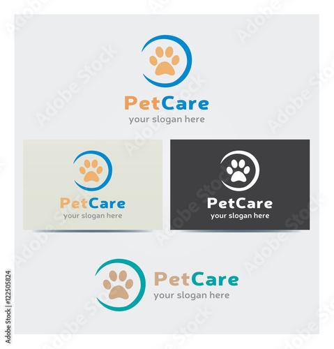 Logo Empreinte Pas Animal Icone Carte De Visite Et Charte Graphique Entreprise Veterinaire Soins Animaux Plusieurs