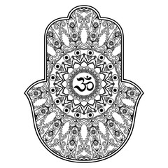 "Vector hamsa hand drawn symbol. OM decorative symbol. Decorative pattern in oriental style for the interior decoration and drawings with henna. The ancient symbol of the "" Hand of Fatima ""."