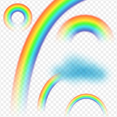 Rainbow cloud realistic set on transparent background isolated