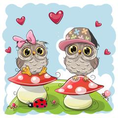 Two Cute Cartoon Owls on mushrooms