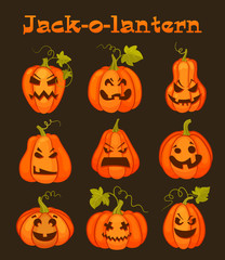 Set pumpkins for Halloween. Vector illustration