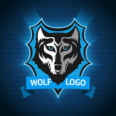 Vector wolf logo, badge template for sport teams, business etc. On dark blue background.