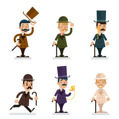 Victorian Gentleman Characters Icons Set Isolated Flat Design Vector Illustration